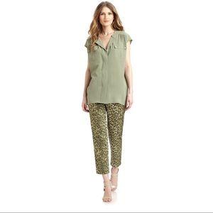 Lafayette 148 New York Pants - Lafayette 148 Kale Green Leopard Bleeker Crop Pant